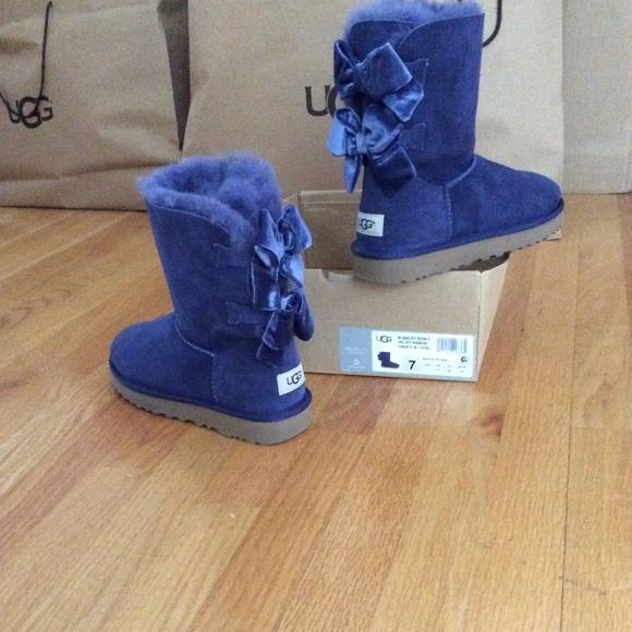 8fb60f15124 UGG Bailey bow II Velvet Ribbon Sky Blue Boots NWT